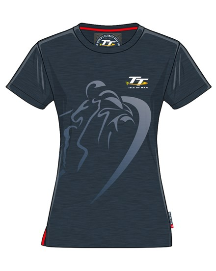 TT Ladies Shadow Bike T-Shirt Navy - click to enlarge