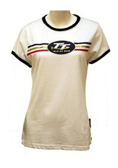 TT Ladies T-Shirt White, Blue Edging