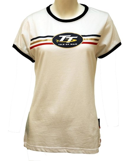 TT Ladies T-Shirt White, Blue Edging - click to enlarge