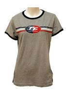 TT Ladies T-Shirt Grey, Navy Edging