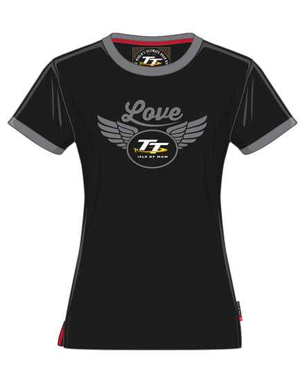 TT Ladies Love T-shirt Black and Grey - click to enlarge