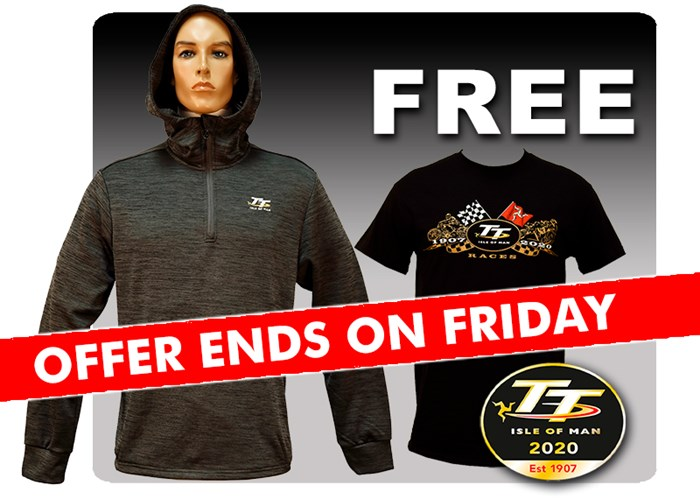 TT Quarter Zip Hoodie with Free Gold Bikes T Shirt and TT Pin - click to enlarge