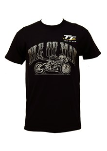 TT Isle of Man Sketched Bike T-Shirt Black