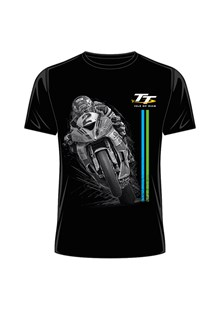 TT Bike 2 Blue/Green Stripe T-Shirt Black