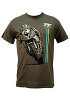 TT Bike 2 Blue/Green Stripe T-Shirt Charcoal