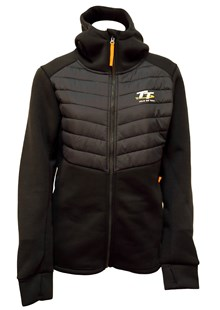 TT Ladies Ribbed Zipped Hoodie Navy, Orange Tags