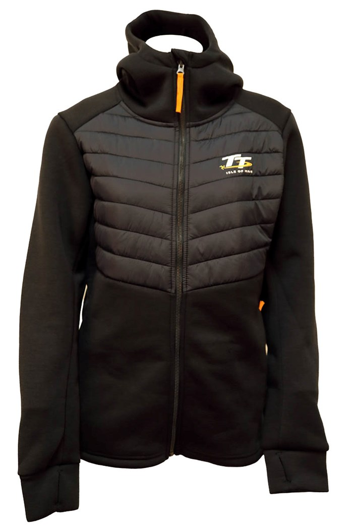 TT Ladies Ribbed Zipped Hoodie Navy, Orange Tags - click to enlarge