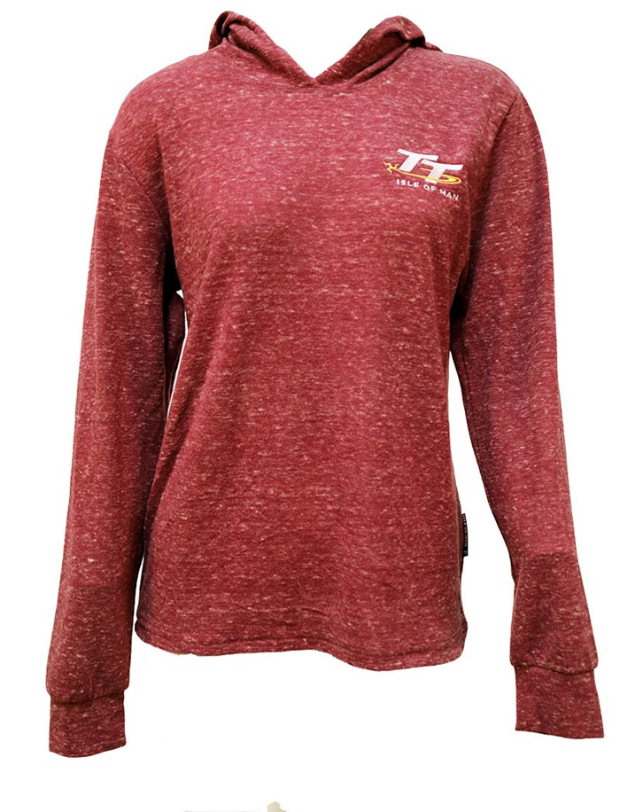 TT Ladies Lightweight Hoodie Raspberry Speckled - click to enlarge