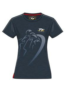 TT Ladies Shadow Bike T-Shirt Navy Fleck