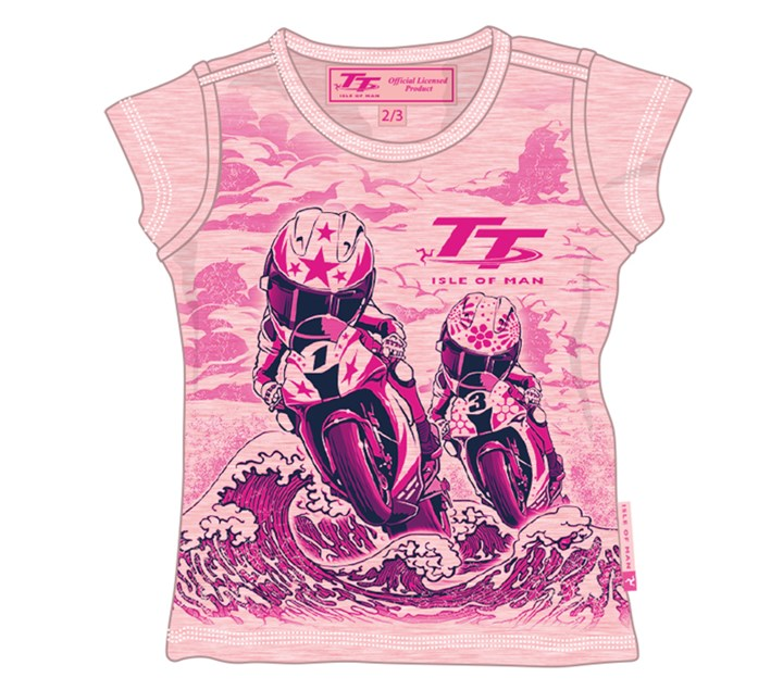 TT Bikes/Waves Baby T-Shirt Pink - click to enlarge