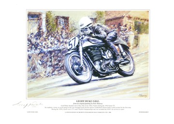 Geoff Duke TT Legend A4 Signed Print - click to enlarge