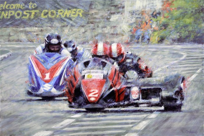 Side by Side - TT Sidecar greats Dave Molyneux and Nick Crowe Signed Print