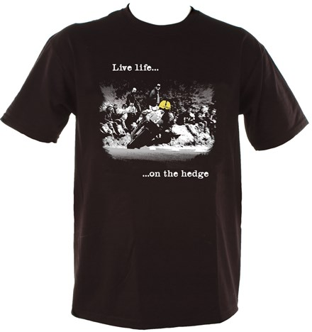 Live Life on the Hedge Joey Dunlop (Duke) T-Shirt Black - click to enlarge