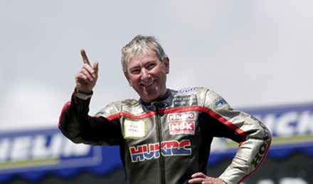 Joey Dunlop Podium Salute Lightweight Victory 2000 - click to enlarge