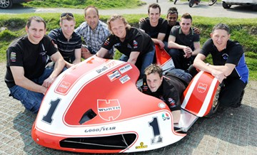 Klaffenbock Sayle Sidecar Team 2011 TT Press Launch - click to enlarge