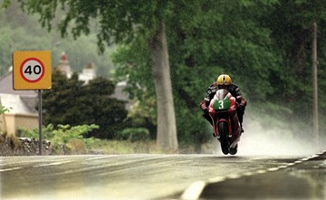 Joey Dunlop in the Rain TT 1998  Acrylic - click to enlarge