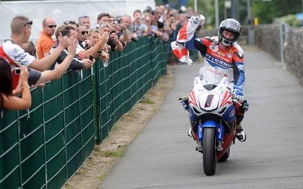 John McGuinness TT 2011 Superbike Winners Paddock