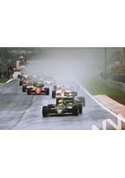 Senna leads teammate Elio de Angelis,Prost and Alboreto