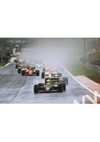 Senna leads teammate Elio de Angelis,Prost and Alboreto