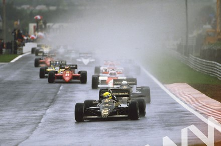 Senna leads teammate Elio de Angelis,Prost and Alboreto - click to enlarge
