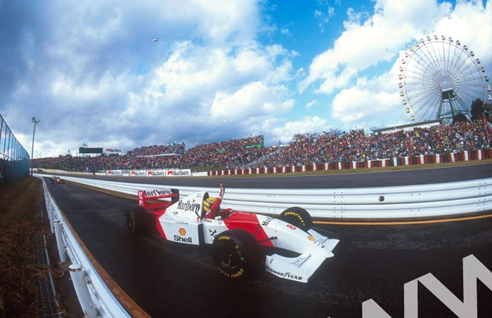 Ayrton Senna pit lane celebration Japan 1993 - click to enlarge