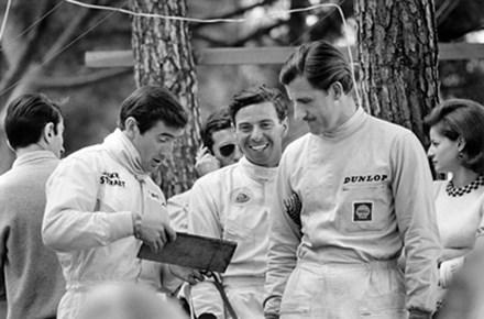 Jackie Stewart Jim Clark Graham Hill 1966 Monaco  - click to enlarge