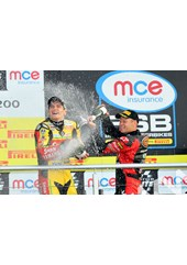 Tommy Hill BSB 2011 and race winner Shane Byrne