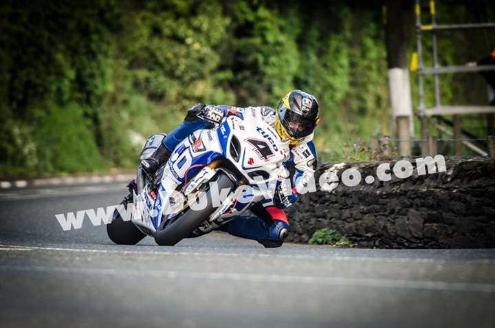 Guy Martin at Greeba Bridge, TT 2013  - click to enlarge