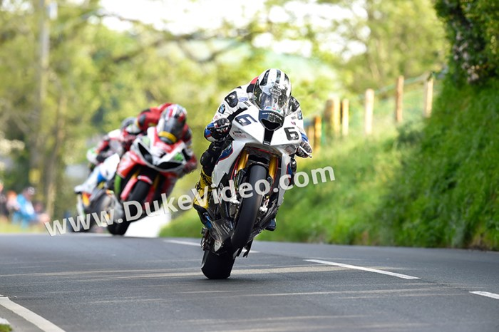 Michael Dunlop leads Hutchy and Bruce Anstey, Barregarrow - click to enlarge