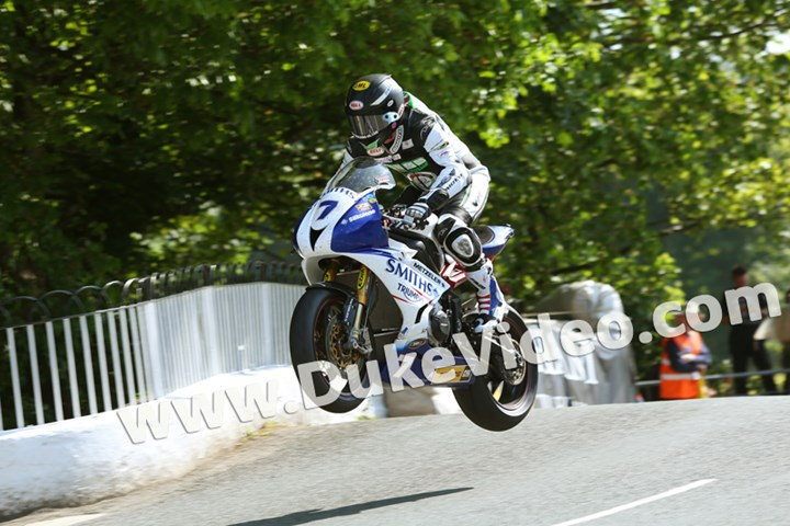 Gary Johnson jumps Ballaugh Bridge, TT 2014 - click to enlarge