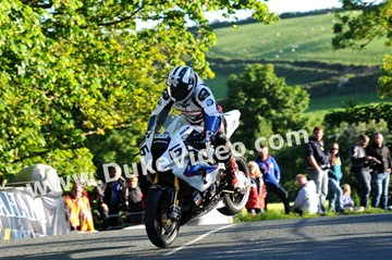 Michael Dunlop jumps Ballaugh Bridge. - click to enlarge