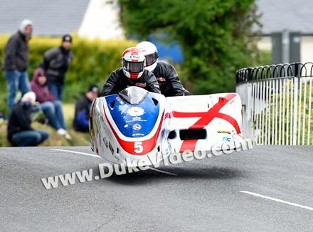 TT 2014 Conrad Harrison and Mike Aylott jumping at Ballaugh - click to enlarge