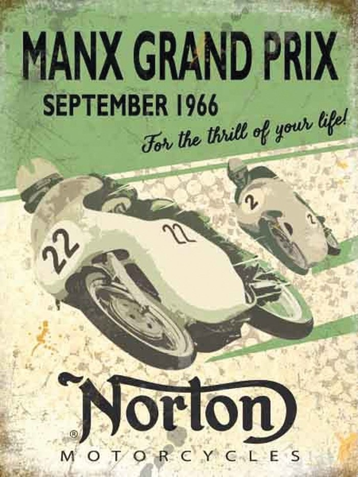 Manx Grand Prix Norton Metal Sign - click to enlarge