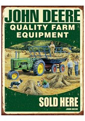 John Deere Farm Equipment Metal Sign