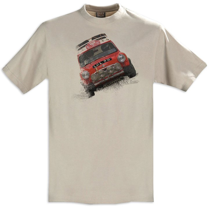 Retro Classic Mini Rally T-Shirt Sand - click to enlarge