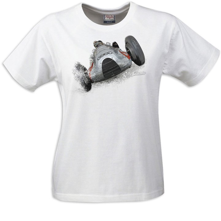 Gritty Marques Auto Union Ladies T-Shirt White - click to enlarge