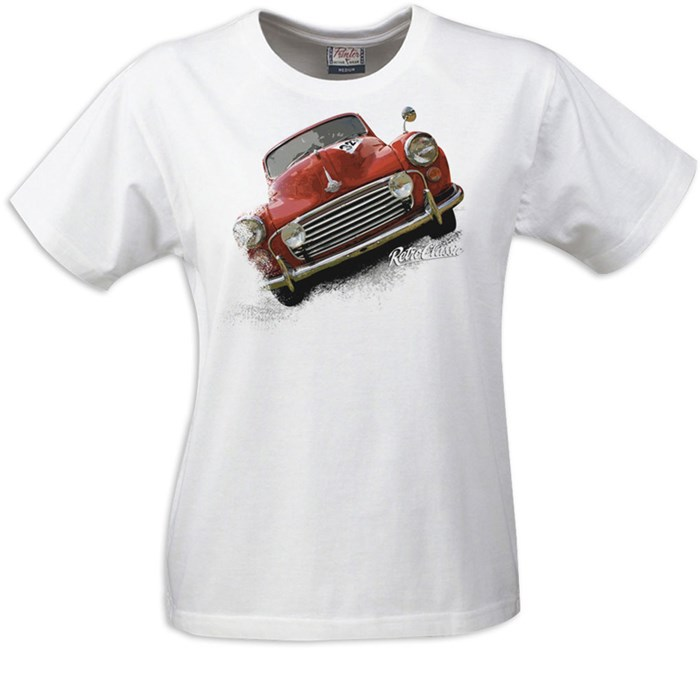 Retro Classic Morris Minor Ladies T-Shirt White - click to enlarge