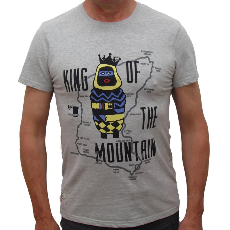 King Of The Mountain Mens Grey T Shirt Isle Of Man Tt