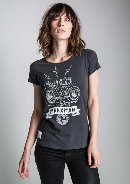 Flying Manxman (Ladies) Black T-Shirt