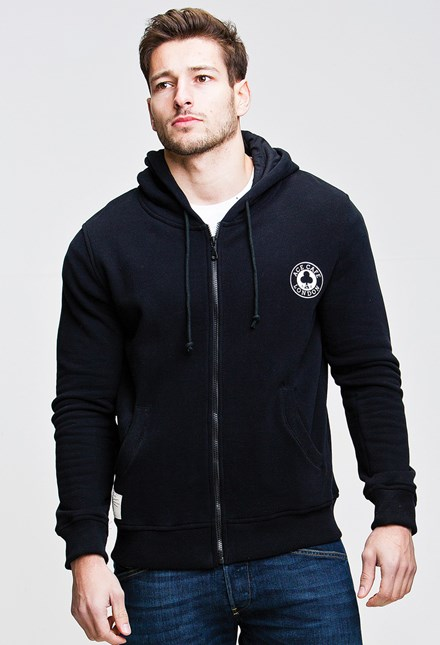 Ace Cafe Ton Up  Zipped Hoodie Black - click to enlarge
