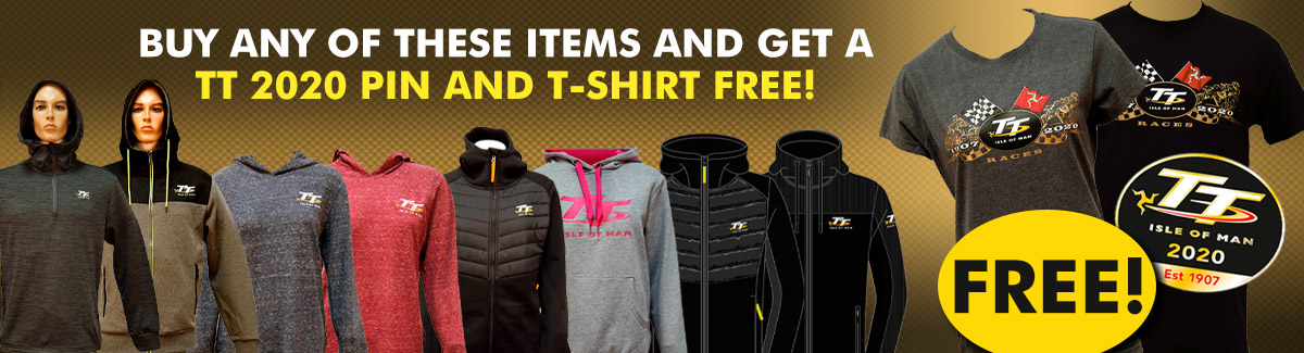 Buy a selected Isle of Man TT hoodie and receive a matching TT T-shirt and pin badge badge too.